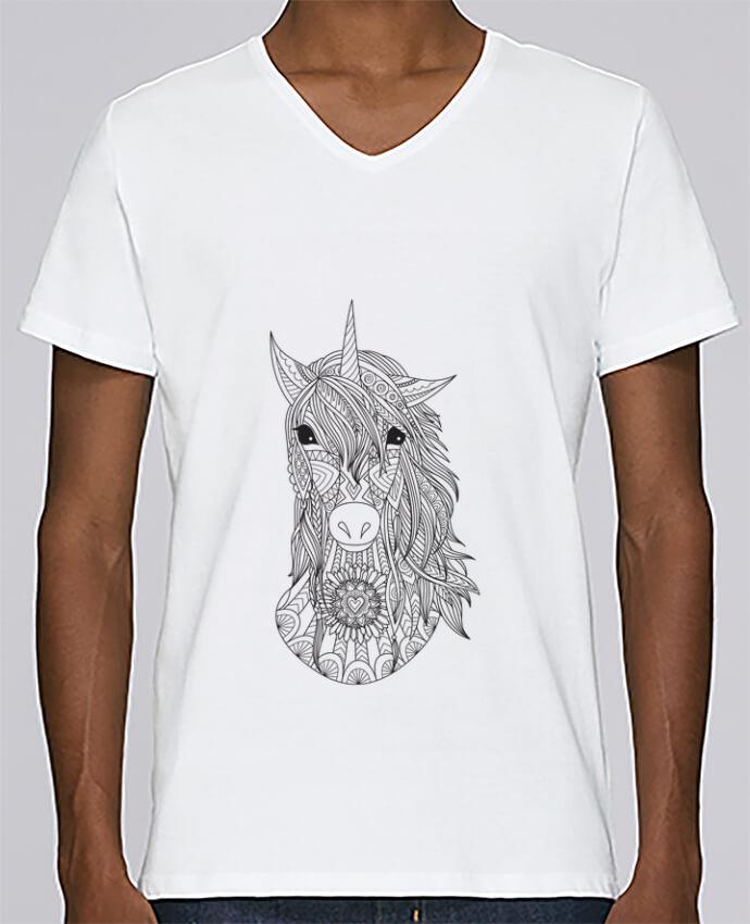 T-shirt Col V Homme Stanley Relaxes Unicorn par Bichette