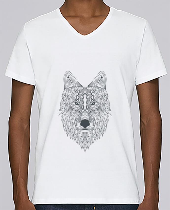 T-shirt Col V Homme Stanley Relaxes Wolf par Bichette