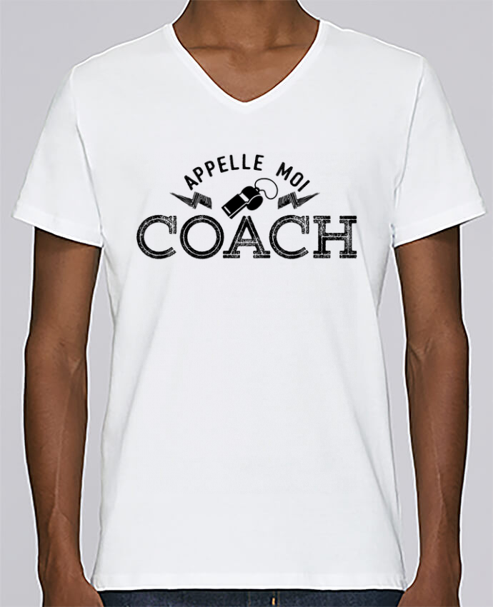 T-shirt Col V Homme Stanley Relaxes Appelle moi coach par tunetoo