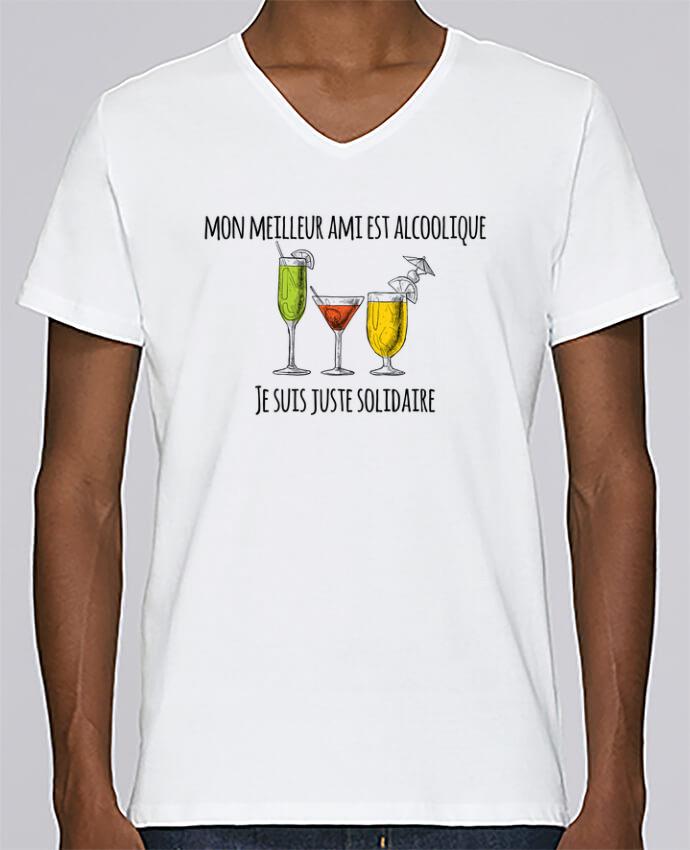 T-shirt Col V Homme Stanley Relaxes Mon meilleur ami est alcoolique et je suis juste solidaire par tunetoo