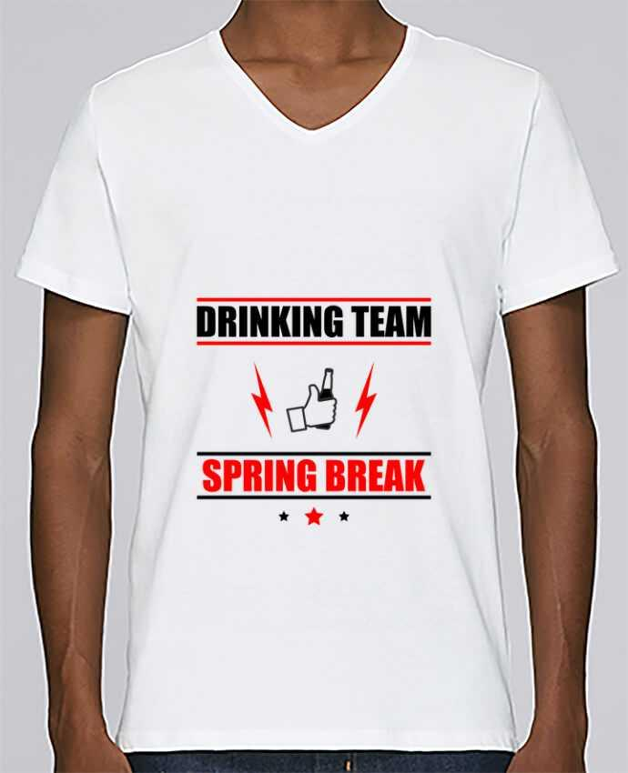 T-shirt Col V Homme Stanley Relaxes Drinking Team Spring Break par Benichan