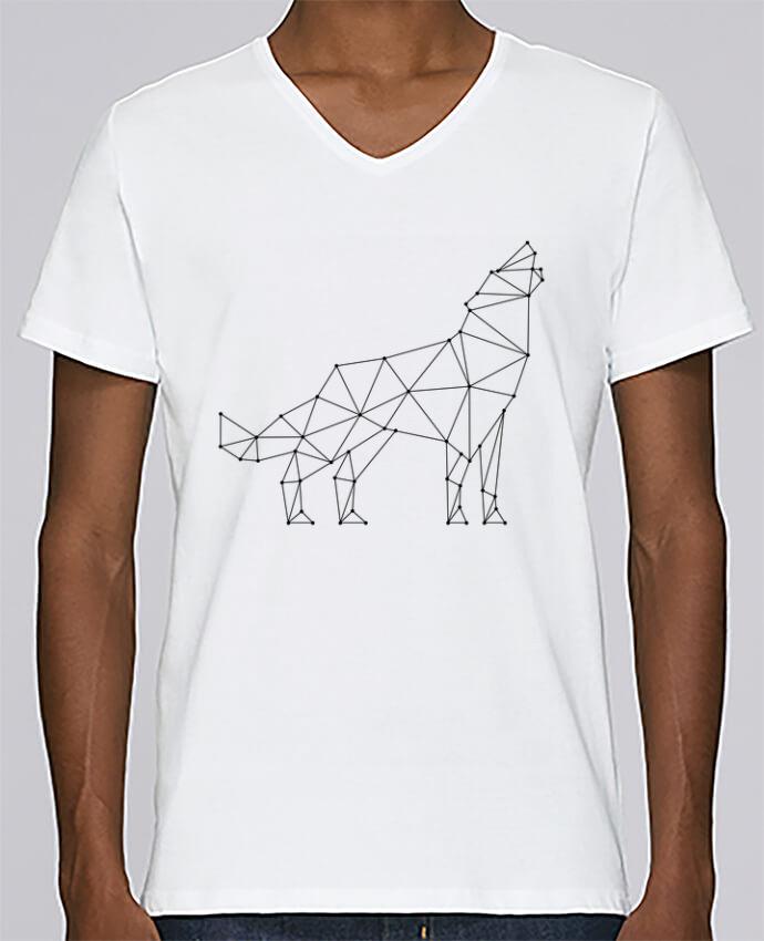 T-shirt Col V Homme Stanley Relaxes wolf - geometry par /wait-design