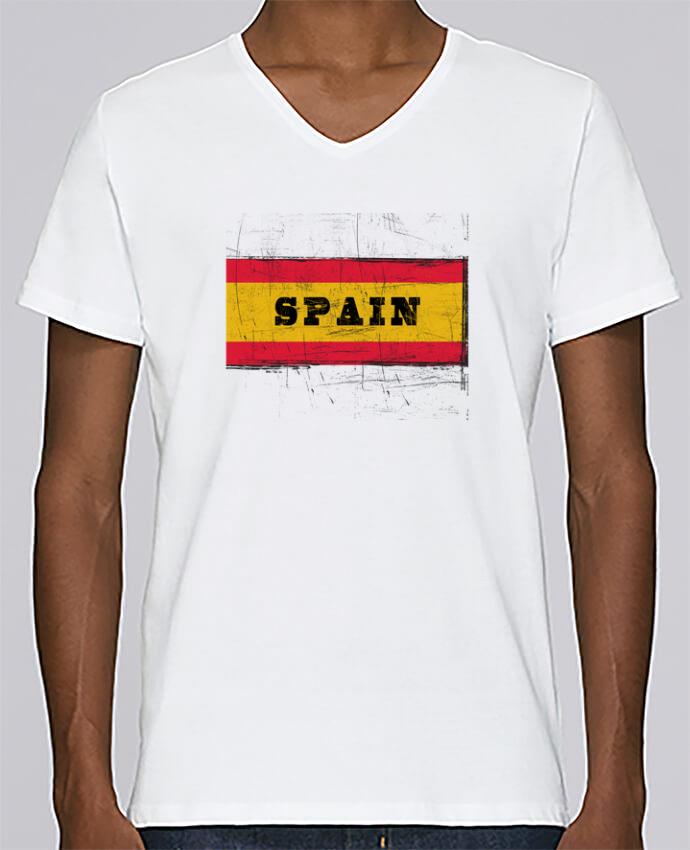 T-shirt Col V Homme Stanley Relaxes Drapeau espagnol par Les Caprices de Filles