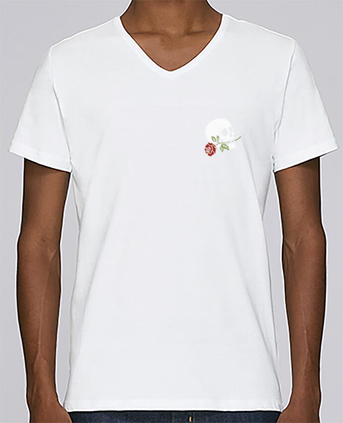T-shirt Col V Homme Stanley Relaxes Skull flower par Ruuud