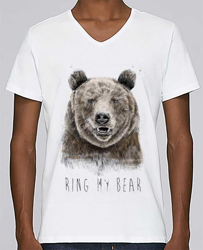 T-shirt Col V Homme Stanley Relaxes Ring my bear par Balàzs Solti