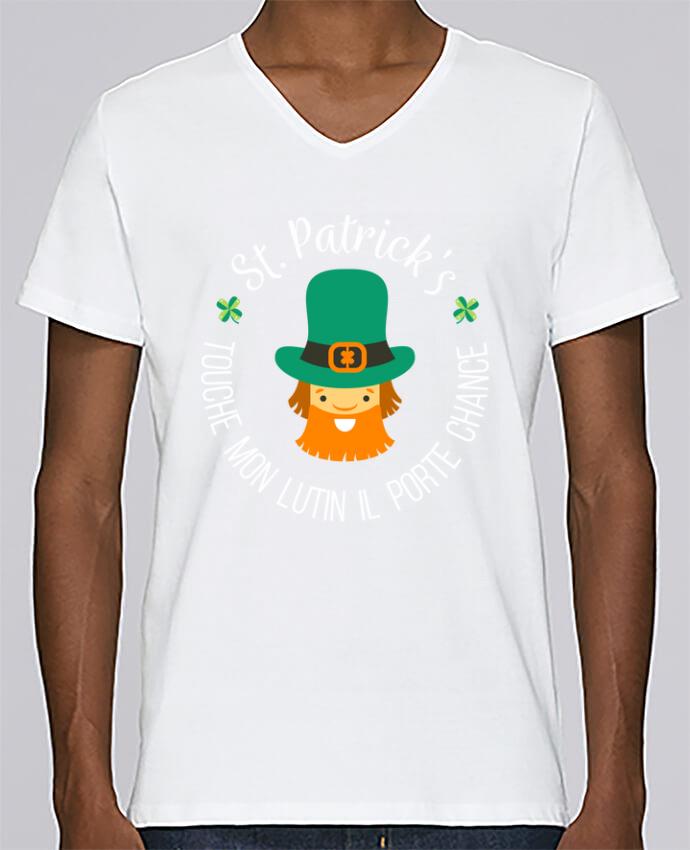 T-shirt Col V Homme Stanley Relaxes Saint Patrick, Touche mon lutin il porte chance par tunetoo