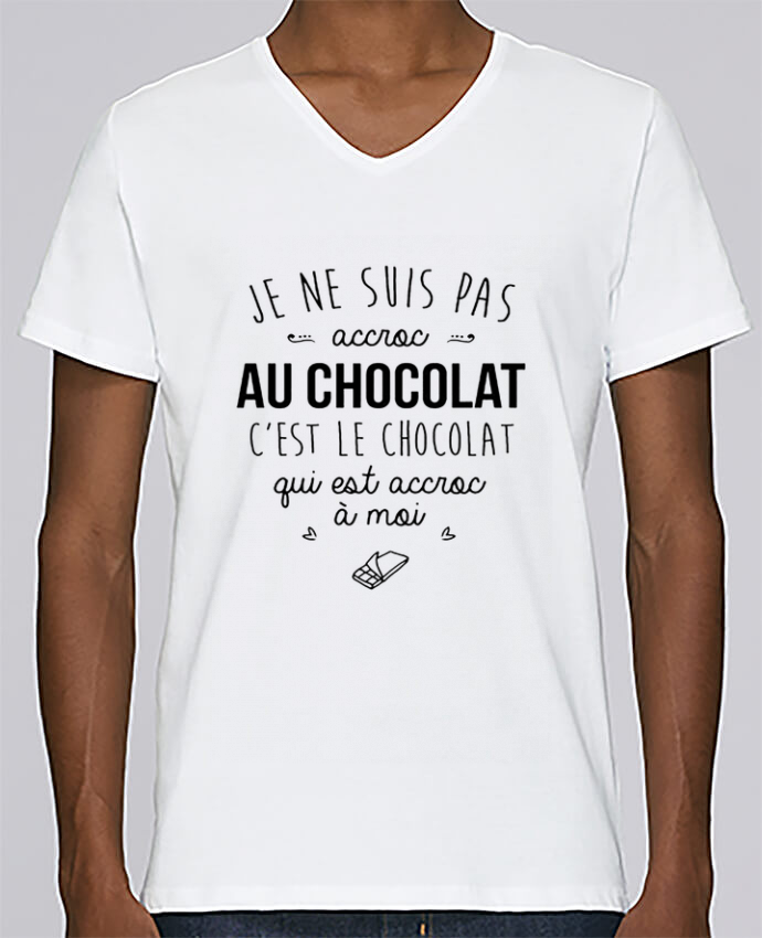 T-shirt Col V Homme Stanley Relaxes choco addict par DesignMe