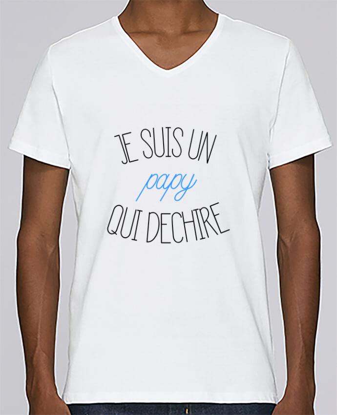 T-shirt Col V Homme Stanley Relaxes Je suis un papy qui déchire par tunetoo