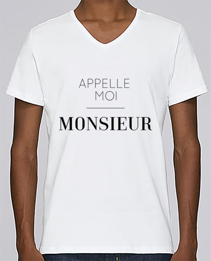 T-shirt Col V Homme Stanley Relaxes Appelle moi Monsieur par tunetoo