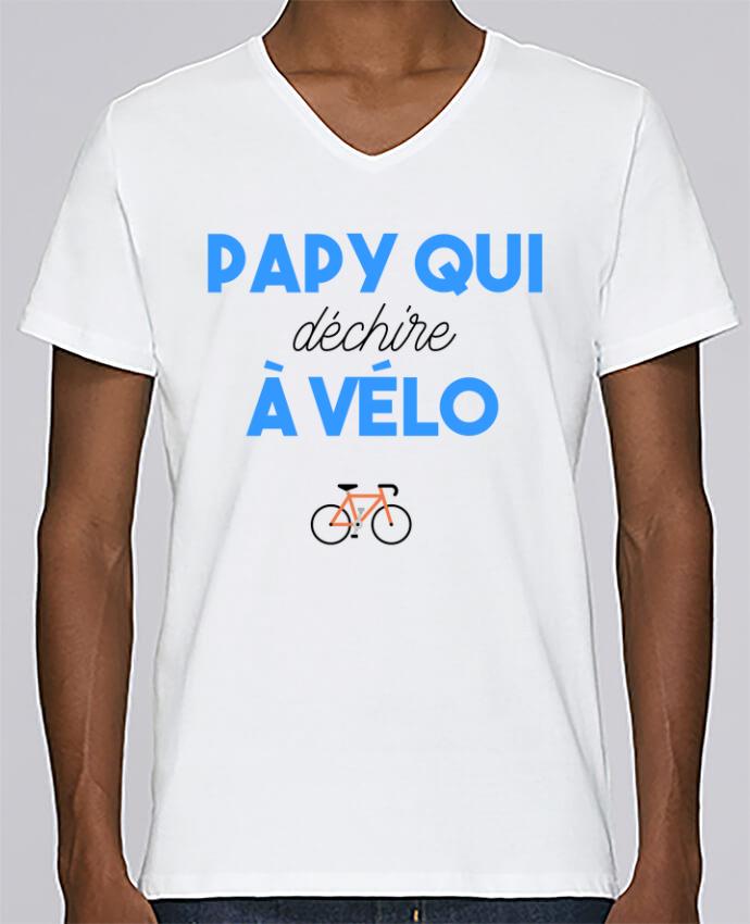 T-shirt Col V Homme Stanley Relaxes Papy qui déchire à Vélo par tunetoo