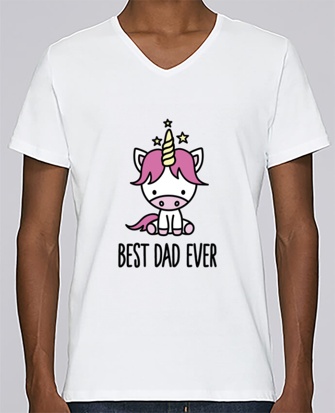 T-shirt Col V Homme Stanley Relaxes Best dad ever par LaundryFactory
