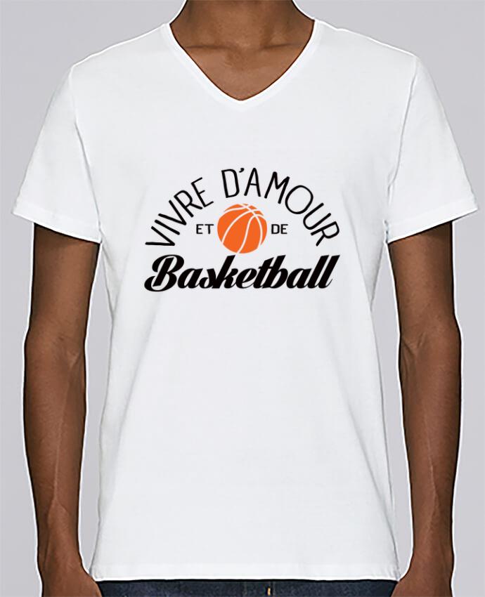 T-shirt Col V Homme Stanley Relaxes Vivre d'Amour et de Basketball par Freeyourshirt.com