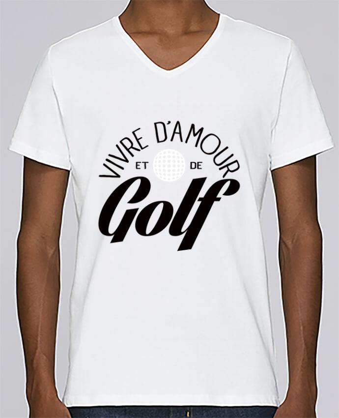 T-shirt Col V Homme Stanley Relaxes Vivre d'Amour et de Golf par Freeyourshirt.com