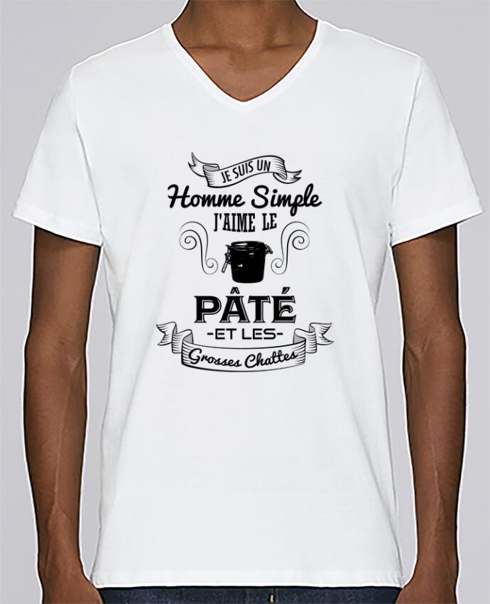 T-shirt Col V Homme Stanley Relaxes Je suis un homme simple, j'aime le pâté et les grosses chates par tuneto