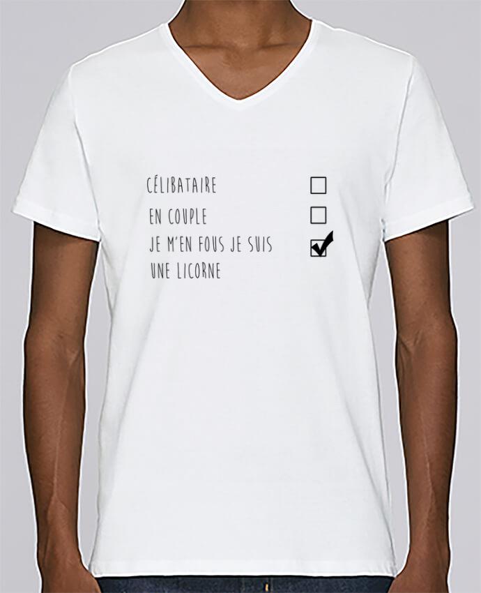 T-shirt Col V Homme Stanley Relaxes je m'en fou je suis une licorne par DesignMe