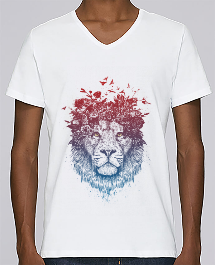 T-shirt Col V Homme Stanley Relaxes Floral lion III par Balàzs Solti