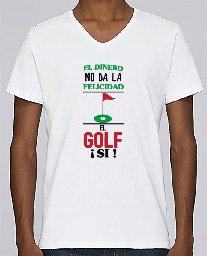 T-shirt Col V Homme Stanley Relaxes El dinero no da la felicidad, el golf si ! par tunetoo