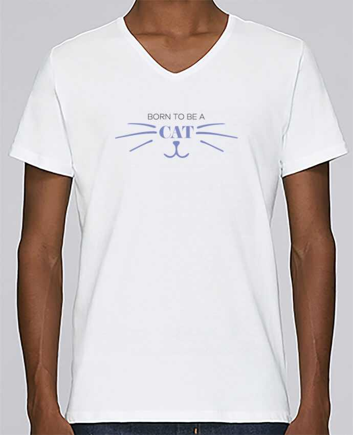 T-shirt Col V Homme Stanley Relaxes Born to be a cat par tunetoo