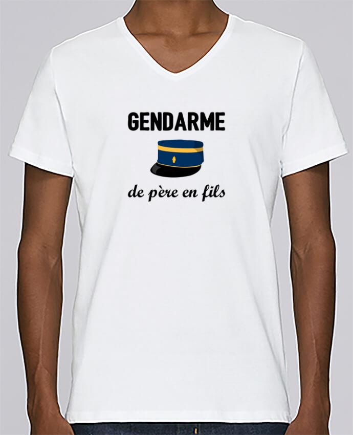 T-shirt Col V Homme Stanley Relaxes Gendarme de père en fils par tunetoo