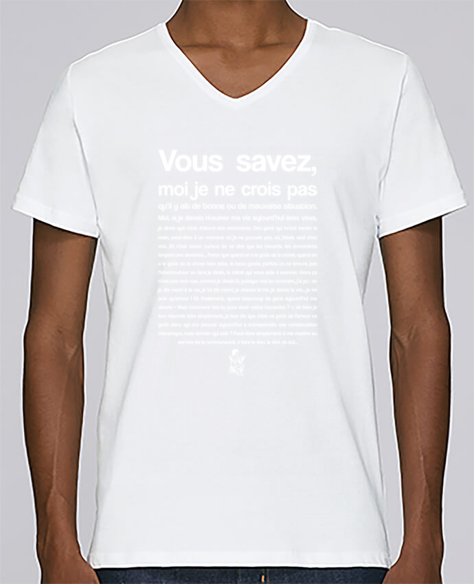 T-shirt Col V Homme Stanley Relaxes Citation Scribe Astérix par tunetoo