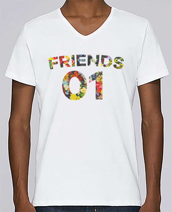 T-shirt Col V Homme Stanley Relaxes BEST FRIENDS FLOWER 2 par tunetoo