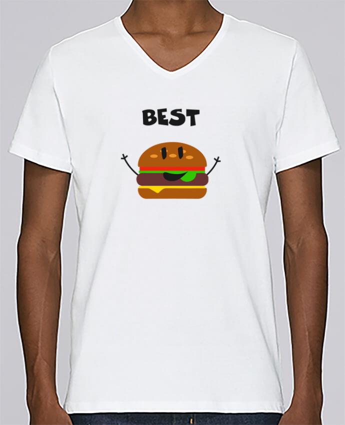 T-shirt Col V Homme Stanley Relaxes BEST FRIENDS BURGER 1 par tunetoo