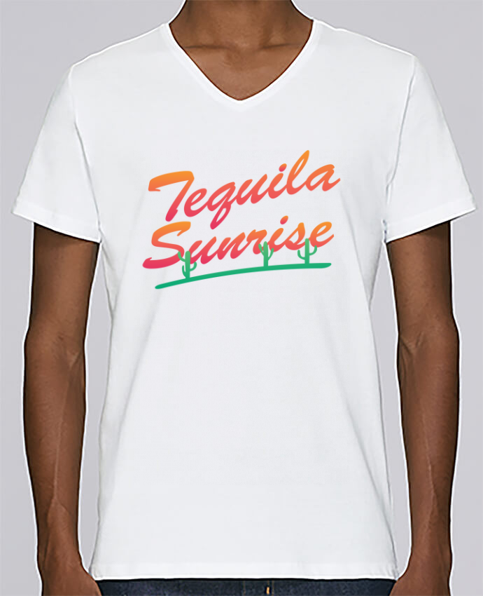 T-shirt Col V Homme Stanley Relaxes Tequila Sunrise par tunetoo