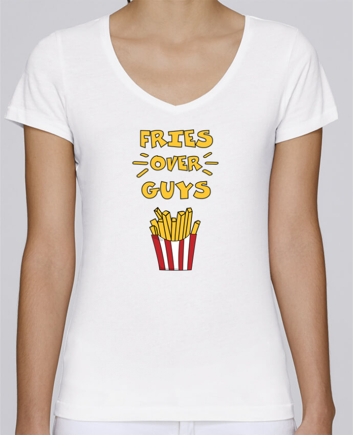 T-shirt Femme Col V Stella Chooses Fries over guys par tunetoo
