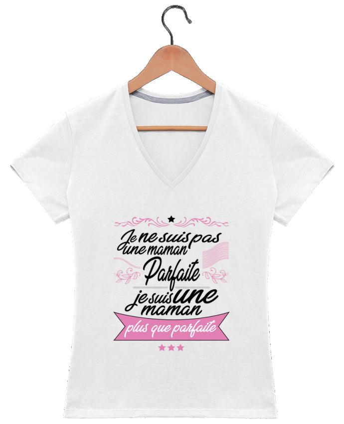 T-shirt Col V Femme 180 gr Maman plus que parfaite par ShoppingDLN