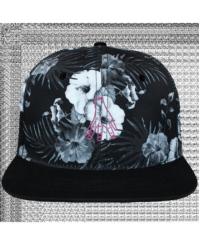 Casquette SnapBack Couronne Graphique Hawaii Main Famille Adams brodé et toile imprimée motif floral noir