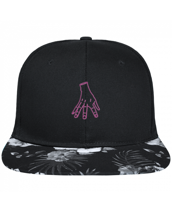 Casquette SnapBack Visière Graphique Fleur Hawaii Main Famille Adams brodé avec toile noire 100% coton et visière imprimée fle