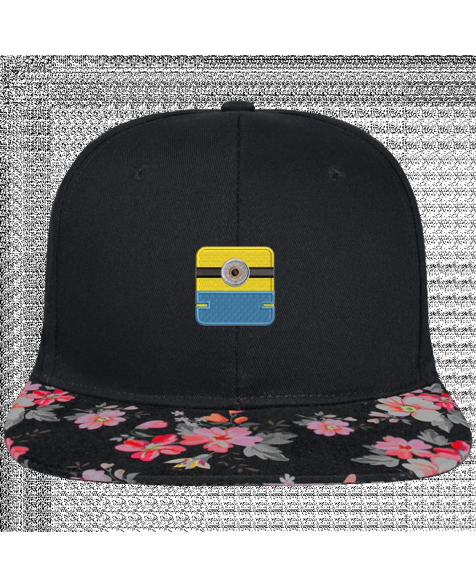 Casquette SnapBack Visière Graphique Noir Floral Minion carré brodé brodé et visière à motifs 100% polyester et toile coton