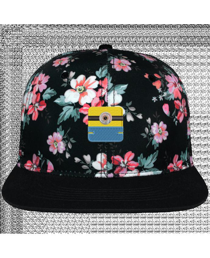 Casquette Snapback Couronne Graphique Floral Noir Minion carré brodé brodé avec toile motif à fleurs 100% polyester et