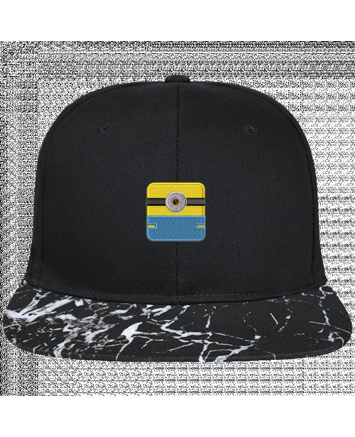 Casquette SnapBack Visière Graphique Noir Minéral Minion carré brodé brodé avec toile noire 100% coton et visière impr