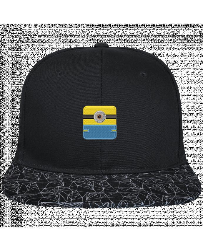 Casquette SnapBack Visière Graphique Noir Géométrique Minion carré brodé brodé avec toile noire 100% coton et visière i