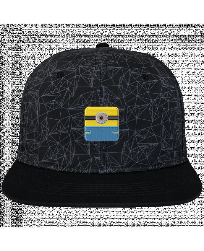 Casquette SnapBack Couronne Graphique Géométrique Minion carré brodé brodé avec toile imprimée et visière noire
