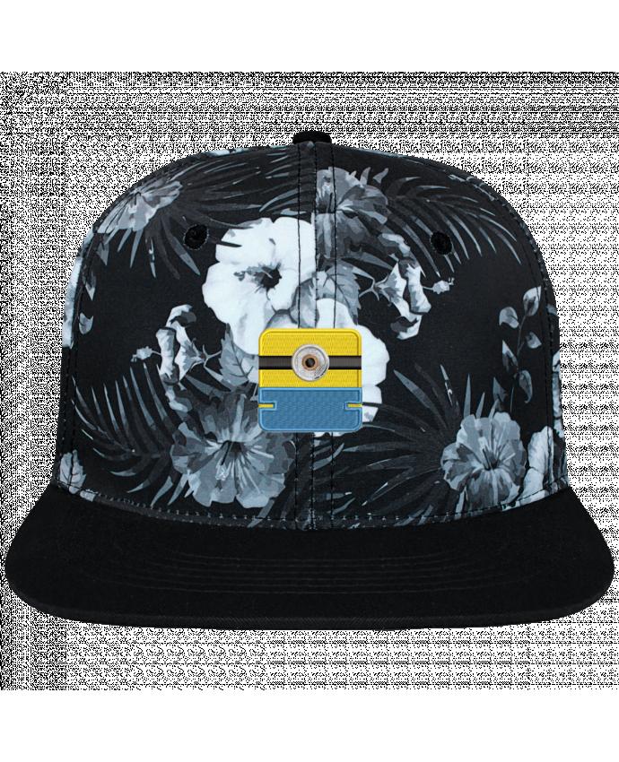 Casquette SnapBack Couronne Graphique Hawaii Minion carré brodé brodé et toile imprimée motif floral noir