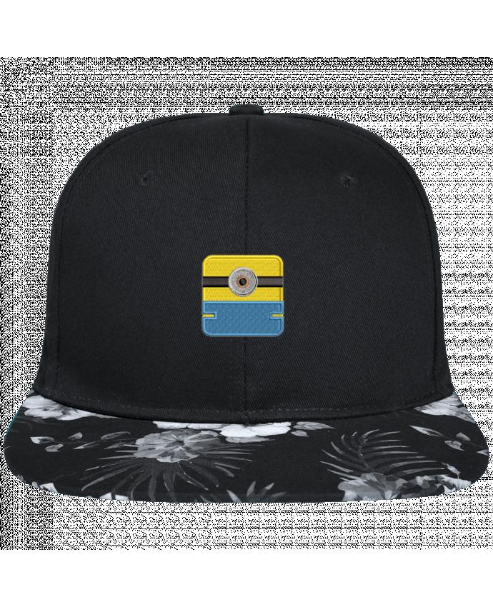 Casquette SnapBack Visière Graphique Fleur Hawaii Minion carré brodé brodé avec toile noire 100% coton et visière imprimée fle