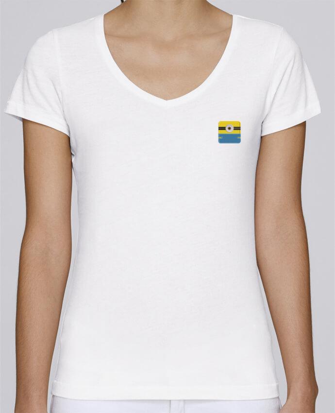 T-shirt femme brodé Stella Chooses Minion carré brodé par tunetoo
