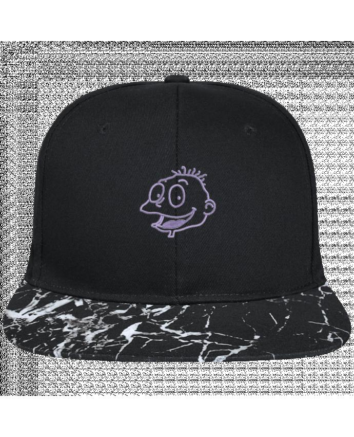 Casquette SnapBack Visière Graphique Noir Minéral Razmoket brodé brodé avec toile noire 100% coton et visière imprimée