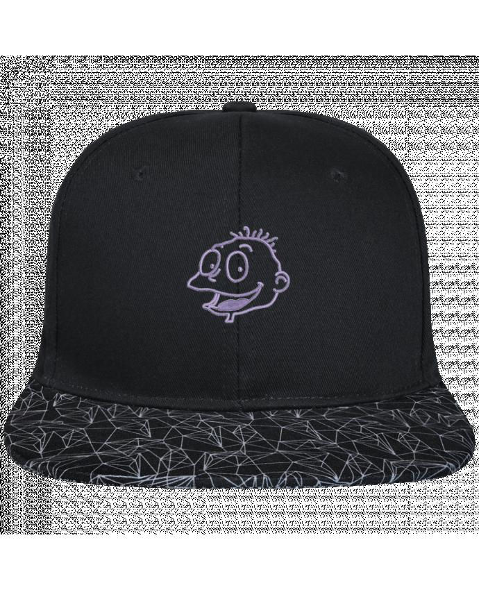 Casquette SnapBack Visière Graphique Noir Géométrique Razmoket brodé brodé avec toile noire 100% coton et visière impri