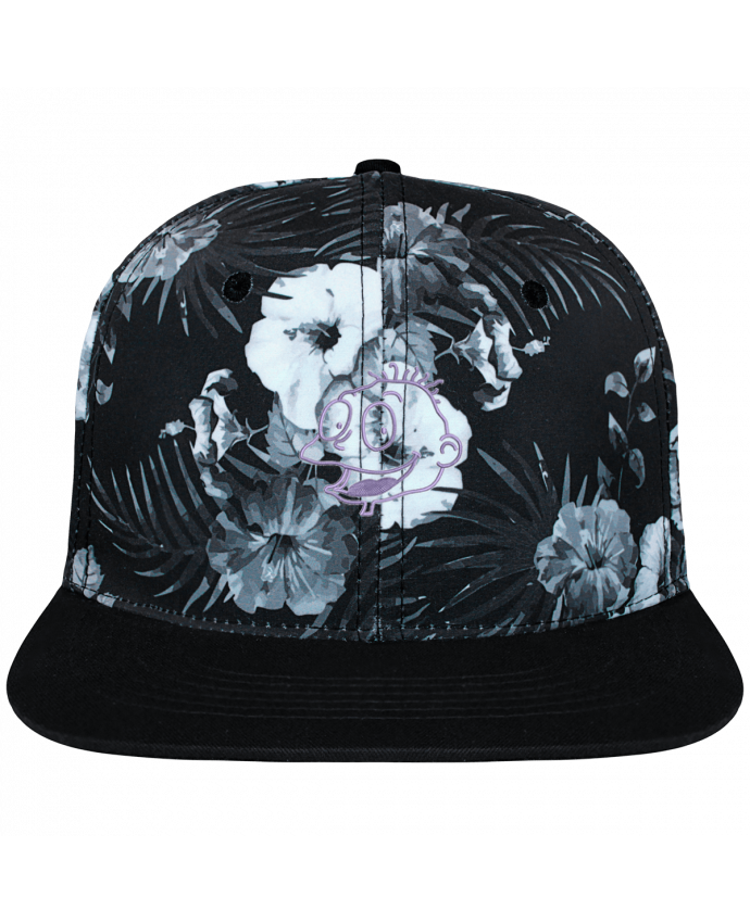 Casquette SnapBack Couronne Graphique Hawaii Razmoket brodé brodé et toile imprimée motif floral noir et b