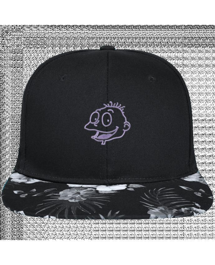 Casquette SnapBack Visière Graphique Fleur Hawaii Razmoket brodé brodé avec toile noire 100% coton et visière imprimée fleurs