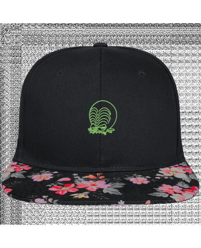 Casquette SnapBack Visière Graphique Noir Floral Zinzin de l'espace brodé brodé et visière à motifs 100% polyester et toile co