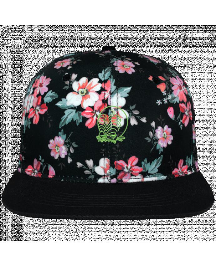 Casquette Snapback Couronne Graphique Floral Noir Zinzin de l'espace brodé brodé avec toile motif à fleurs 100% polye