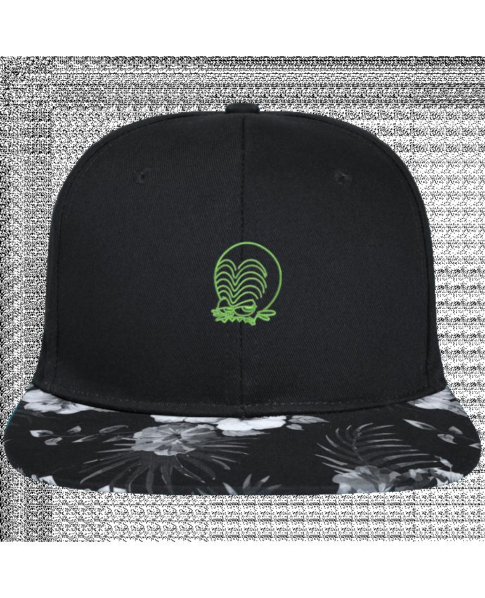 Casquette SnapBack Visière Graphique Fleur Hawaii Zinzin de l'espace brodé brodé avec toile noire 100% coton et visière impri