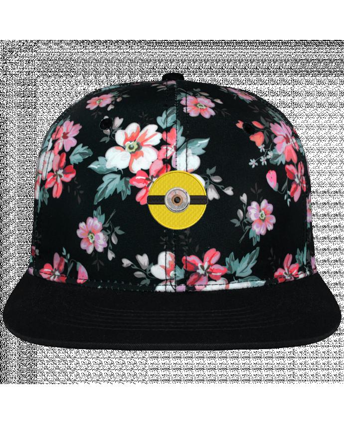 Casquette Snapback Couronne Graphique Floral Noir Minion rond brodé brodé avec toile motif à fleurs 100% polyester et