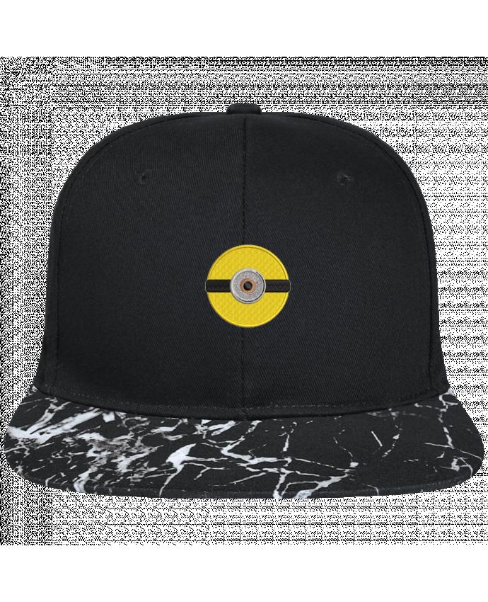 Casquette SnapBack Visière Graphique Noir Minéral Minion rond brodé brodé avec toile noire 100% coton et visière impri
