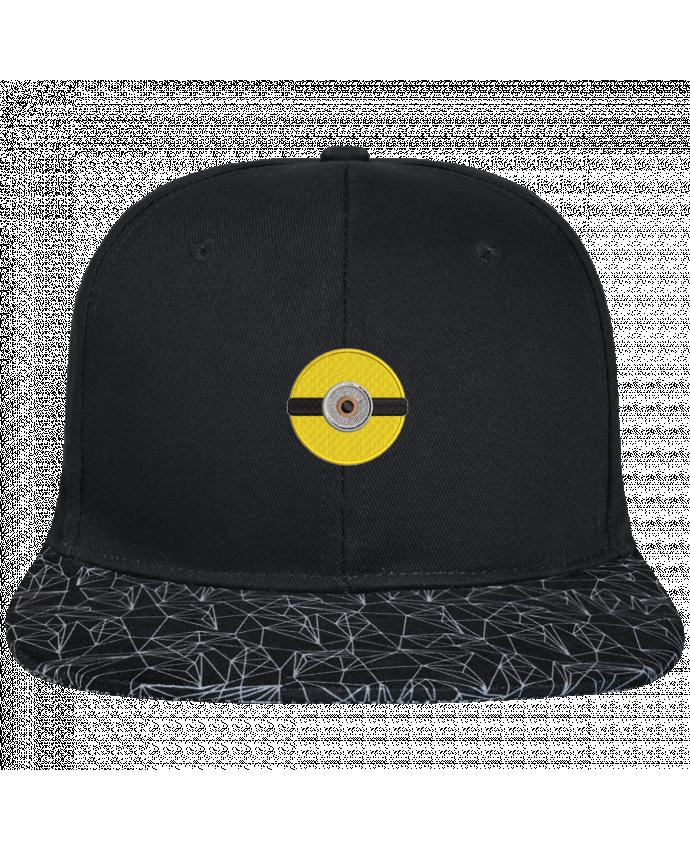 Casquette SnapBack Visière Graphique Noir Géométrique Minion rond brodé brodé avec toile noire 100% coton et visière im