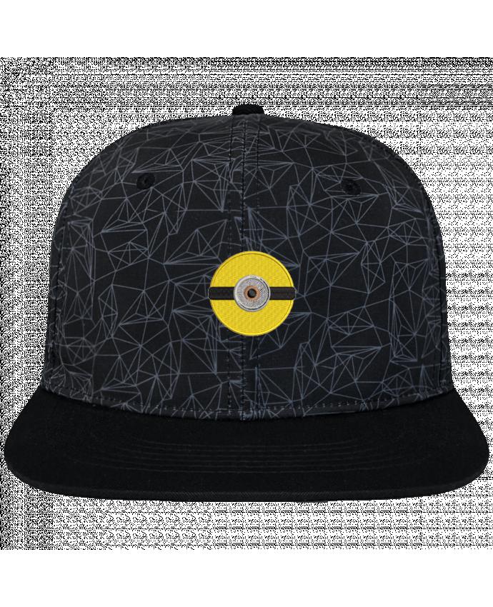 Casquette SnapBack Couronne Graphique Géométrique Minion rond brodé brodé avec toile imprimée et visière noire